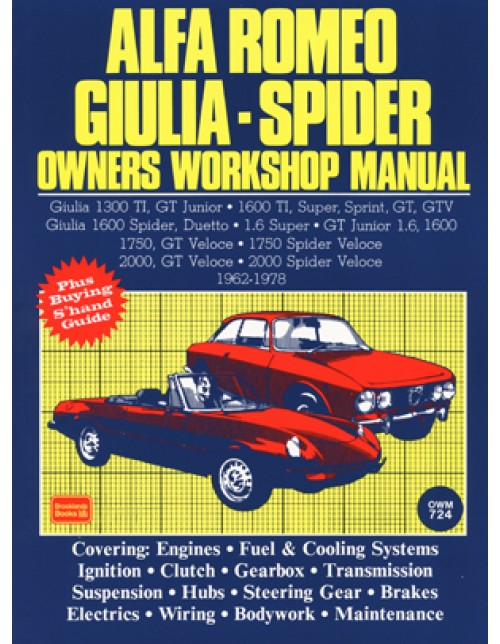 alfa romeo giulia spider owner s workshop manual 1962 1978 rh autobooks aerobooks com alfa romeo spider 2000 workshop manual alfa romeo spider 2000 repair manual